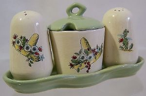Beswick Mexican Madness 3-Piece Condiment Set - 1950s - SOLD